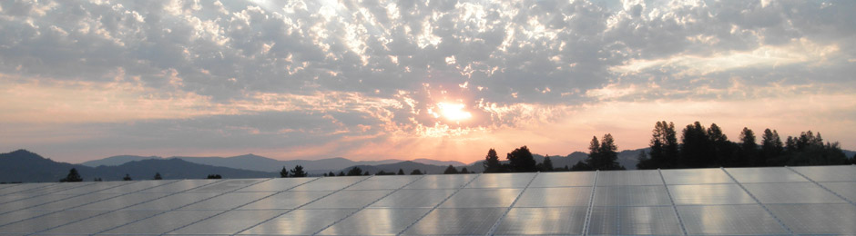 Solar panels sunrise